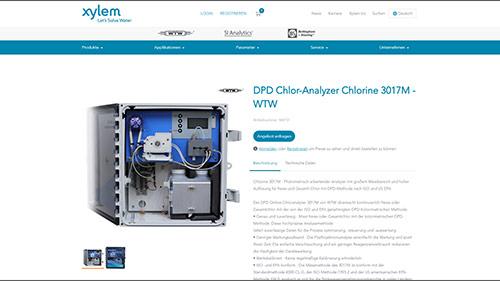 Screenshot deutsche Produktseite Chlorine 3017M von WTW