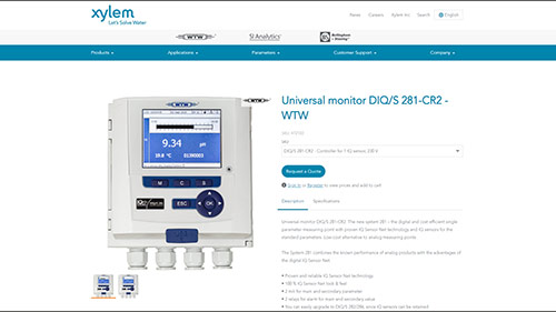 Screenshot English Product Page of WTW's Monitor DIQ/S 281